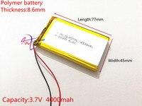 3.7 v bateria de polímero de lítio 4000 864577 mah fonte de energia móvel tablet 7 'tablet