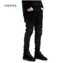 New Men Black Ripped Skinny Jeans Hip Hop swag Denim Scratched Biker Jeans Joggers pants Famous Brand Designer Men Trousers(China)