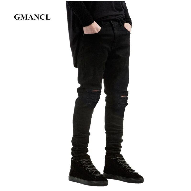 Novo preto rasgado jeans magros hip hop swag denim riscado biker jeans corredores calças famosa marca designer calças masculinas
