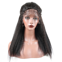 180% Density Kinky Straight Full Lace Human Hair Wigs Brazilian Remy Pre Plucked With Baby Hair Natural Black SunnyQueen Product
