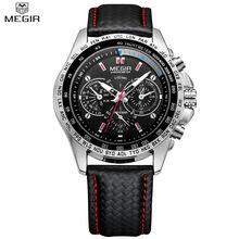 Megir montres hommes top marque de luxe quartz hommes montre mode casual noir PU Starp Horloge Hommes Grand Cadran Temps Erkek Saat Relogio