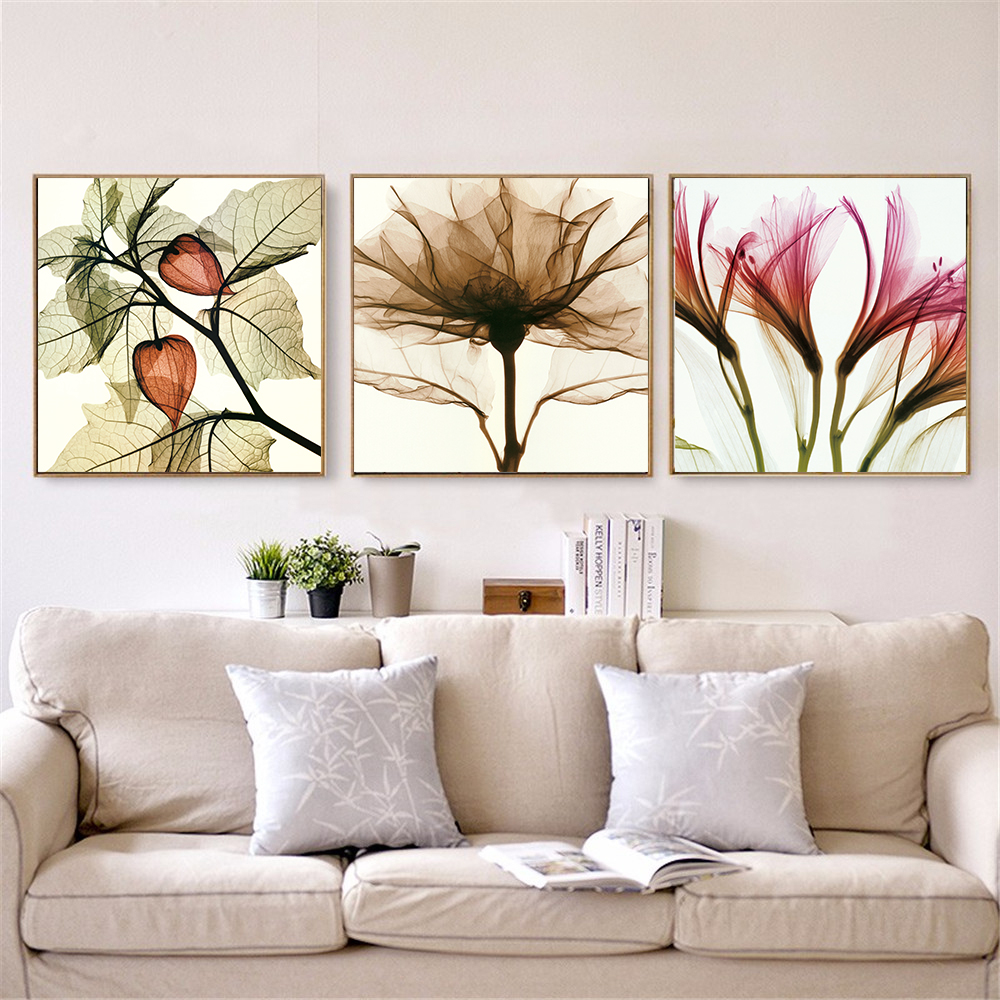 X-ray Flowers Abstract Painting Leaf Plant Poster Nordic Bedroom Decoration  Modern Print Kids Room Decor Wall Art Canvas Flowers