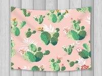 קקטוס תפאורה רקע ורוד שטיח Pricky קקטוס פרחים Carrtoon תפאורה בייבי תליית אמנות קיר לסלון חדר שינה במעונות