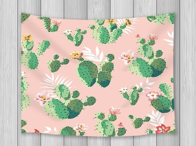 Cactus Decor Tapestry Pricky Blooms Carrtoon Baby Pink Background Wall Art Hanging For Bedroom