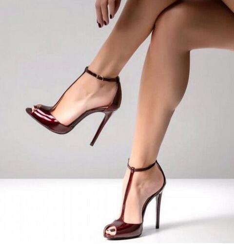 Personnalisé En Cuir Nude T Sangle Pompes à Talons Hauts 12 CM Peep Toe Cheville Sangle découpée Pompes Femmes Chaussures t bar Banquet Chaussures - 4