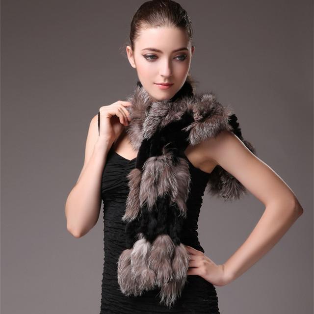 Otoño Invierno Bufanda de Piel de Conejo Patchwork de piel de Zorro Naturales Genuinos de Las Mujeres de Señora Bufanda Caliente Calentadores Del Cuello VF0565