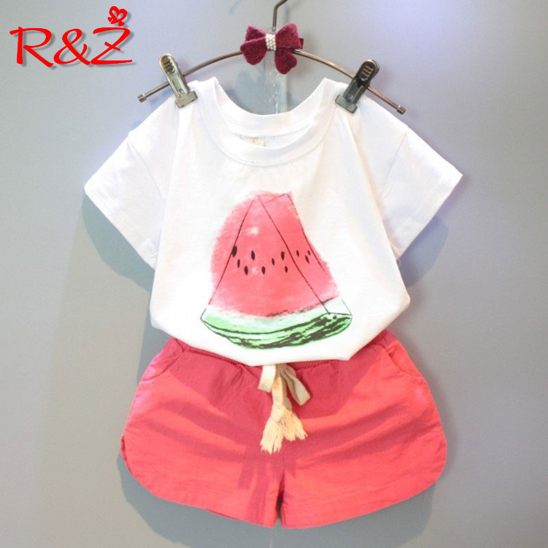 R&Z 2018 Girls Clothing Sets New Summer Casual Style Watermelon Print Design Short Sleeve Pants 2Pcs for Kids Clothes
