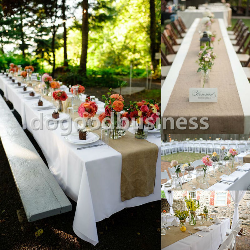 Aliexpress Com Buy 1pcs 12 X 108 Vintage Country Jute Hessian Burlap Table Runner Rustic Wedding Party Venue Decoration 30 275cm From Reliable Party Kids