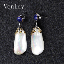 Venidy Natural Baroque Pearl Earring, Pearl With 925 Sterling Silver earrings, Wedding Birthday Jewelry Women Fashion Earrings