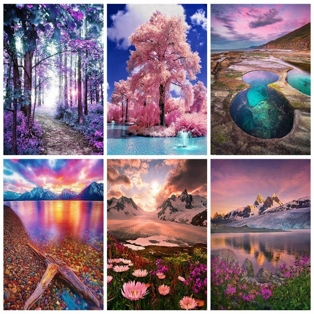 Huacan 5D Diy Diamond Painting Landscape Full Square Embroidery Scenery Rhinestone Mosaic Home Decor