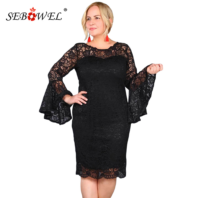 SEBOWEL Plus Size Black/White Flower Lace Party Dress Women Elegant Sexy Hollow Out Lace Flared Sleeve Short Dress Vestidos 5XL