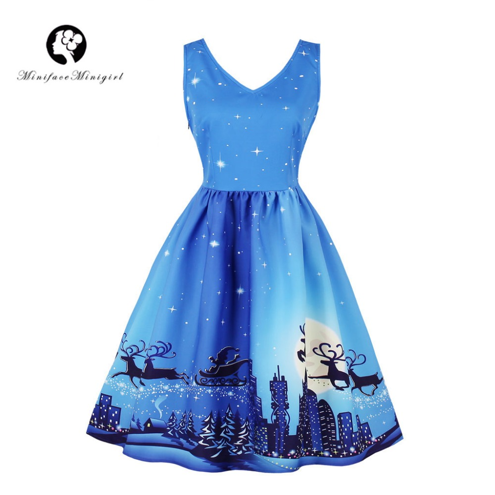 Sky Blue Vintage Christmas Dress Winter V Neck Sleeveless Midi Dresses Moon Snow Print Santa Christmas Dress Vestidos 2018