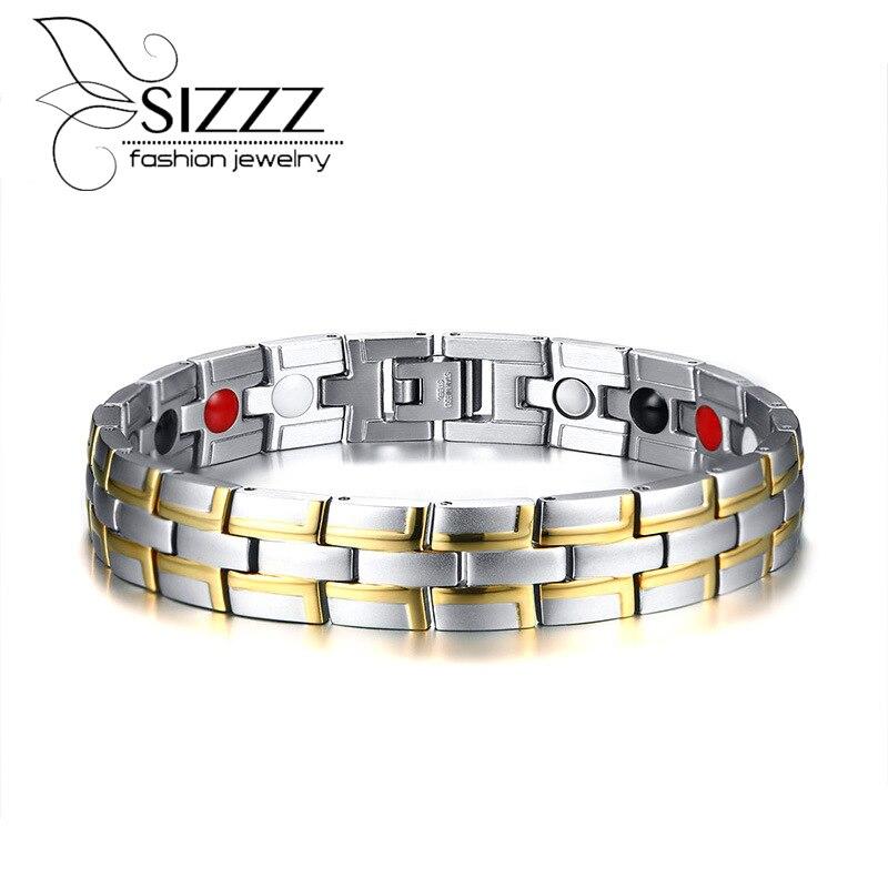 SIZZZ edelstahl magnetische stahl gold farbe hologramm trendy armband & armreifen für männer