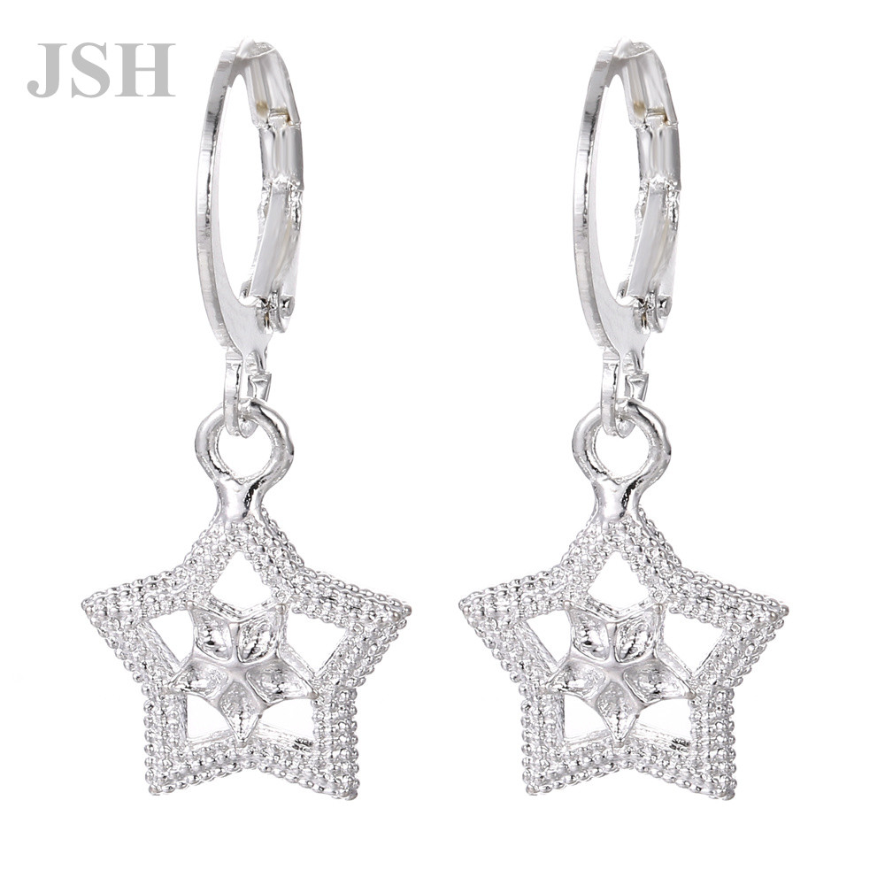wholesale , For Lady women silver color earrings charms Hoop wedding hook CUTE Bohemia fashion classic jewelry JSHLE044