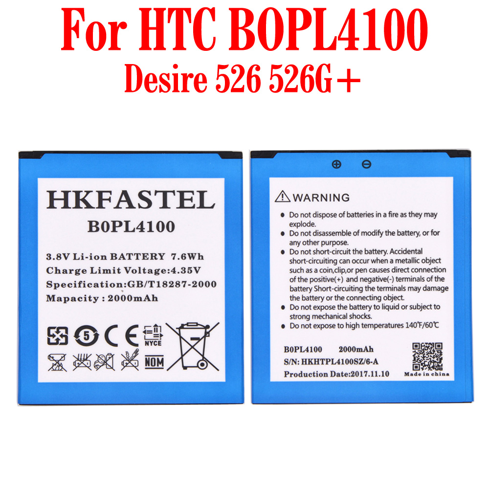 HKFASTEL New original BOPL4100 Mobile Phone Battery For HTC Desire 526 526G+ dual sim Cell phone high quality Batteries 2000mAh