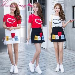 Корейский с коротким рукавом футболка + юбка с высокой талией юбка двухсекционный костюм 3 подарки лучшим друзьям Twin одежда Roommates A-Line 2
