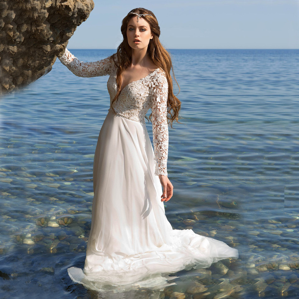 New Elegant Sexy Long Sleeves Deep V Neck Back Chiffon Skirt Beach Wedding Dress 2019 Lace Vestido De Festa