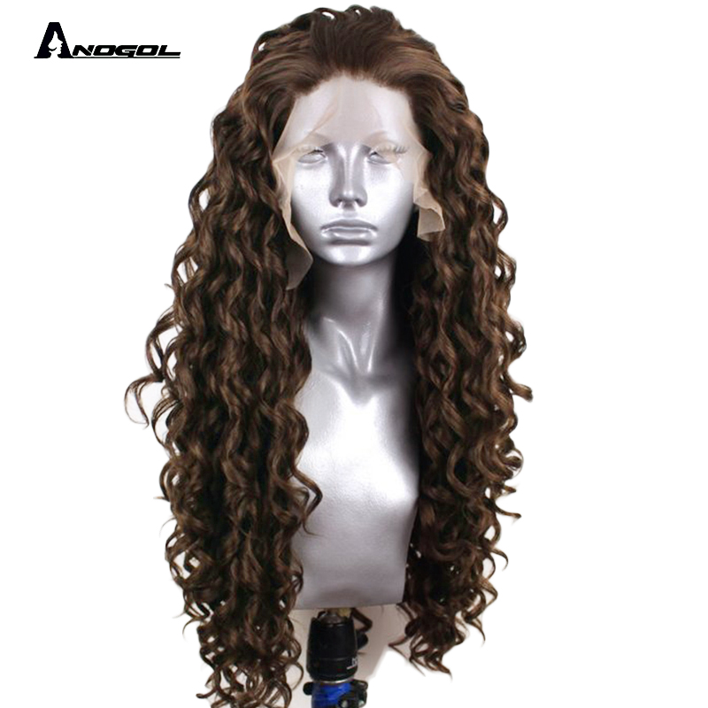 Anogol 24 Dark Brown Isla Bright Long Kinky Curly Free Part Synthetic Lace Front Wig For