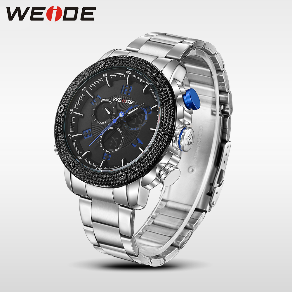WEIDE luxury Watch Men Quartz Digital Waterproof Double display Multiple Time Zone stainless steel Back Light sport watch weide casual genuin brand watch men sport auto date quartz digital silicone waterproof wristwatch multiple time zone masculino