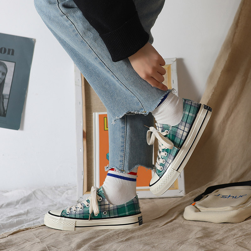 Casual Sneakers Checkered Shoes Canvas Women Fashion Ladies Summer Outdoor Lace-Up Leisure
