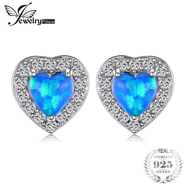 Jewelrypalace Heart 0 4ct Cabochon Created Black Opal Stud Earrings 925 Sterling Silver Fine Jewelry