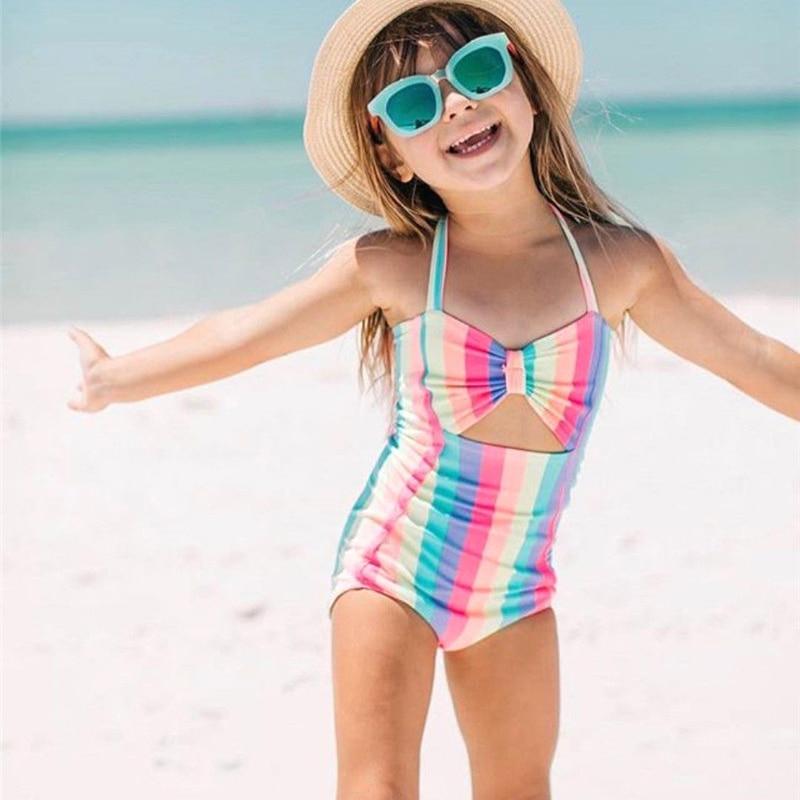 Children Swimwear Baby Kids Cute Bikinis Girls One Piece swimsuit Rainbow Halter Bowknot High waist Holes Beachwear Bathing Suit
