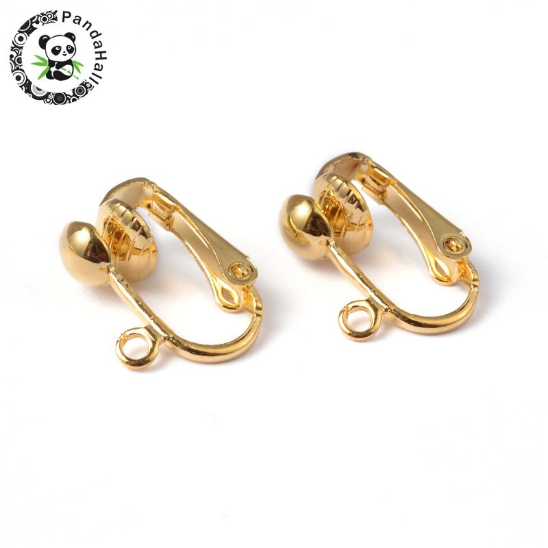 Iron Clip-on Earring Components, for non-pierced ears, Golden, Nickel Free, about 13.5mm wide, 15.5mm long, 7mm thick, hole: