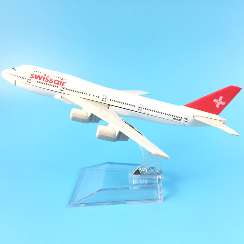 16cm Alloy Metal Swiss Air Swissair Airlines Boeing 747 B747 200 Airways Airplane Model Plane Model W Stand Aircraft Gift