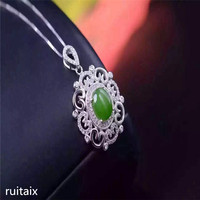 KJJEAXCMY boutique jewels S925 Pure silver inlay natural jade lady pendant + necklace sunflower spinach green jewelry plant lea