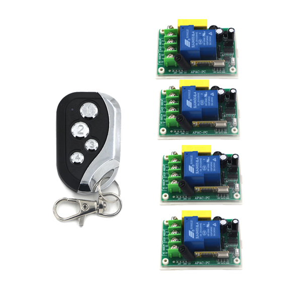 100% NEW RF AC 220V 30A 433MHZ 1Ch Learning Code RF Wireless Remote Metal Transmitter New Design 4*Receiver 4375 andrei grebennikov rf and microwave transmitter design