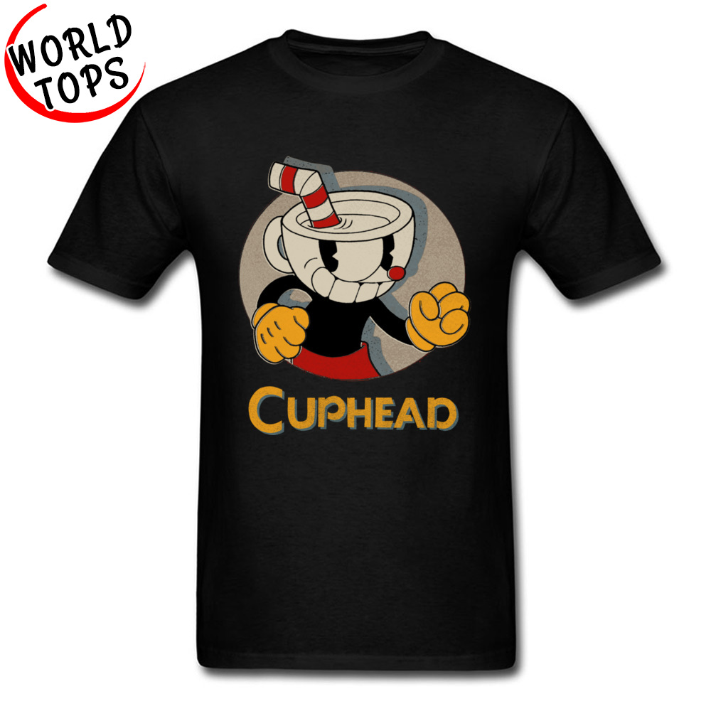 Animetion Cuphead Fists Young   T  -  shirts   Coupons Summer/Autumn 100% Cotton Fabric Basic Normal Tops Tees Funny   T     Shirt