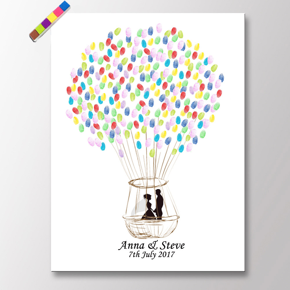 New Arrival Hot Air Balloon Wedding Party Fingerprint Tree Signature Book Canvas Painting With Ink Pad Bride Groom Wedding Gift