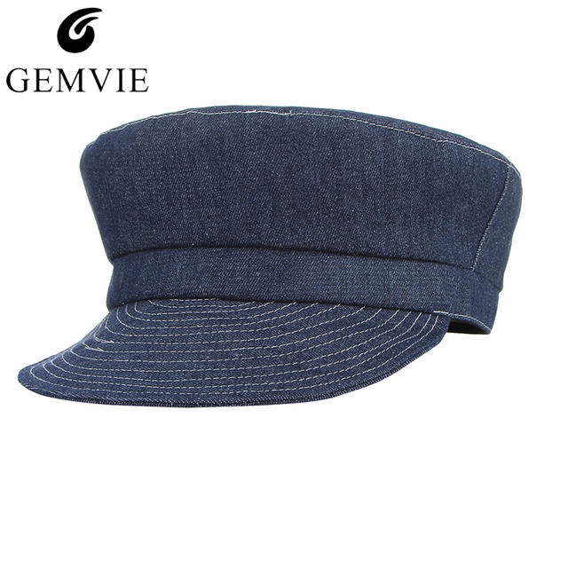 2018 Men Women Fashion Denim Newsboy Cap Solid Color Beret Soft Brim Denim  Sunhat Unisex Flat Top Sailor Hat Military Hat bb0fea0754a