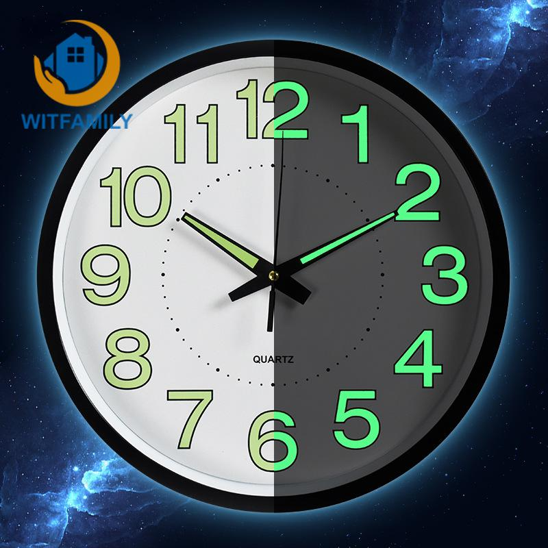 12 Inches 30CM Night Wall Clock Quartz Watch Bedroom Clock Custom Mute Personality Home Decorative Fashion Needletable Simple