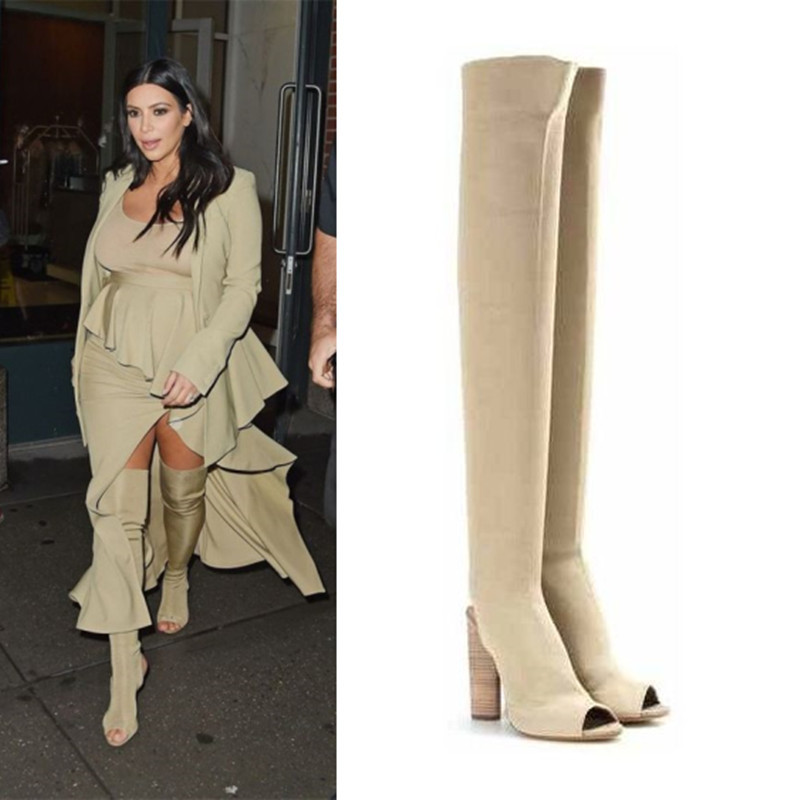 ФОТО 2016 New Arrival Kim Kardashian Stretch Knit Over The Knee Boots Open Toe Cut Out Thick Heel High Heel Long Boots