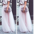 Fantasy Baby Pink Lace Long Tulle Skirts Floor-Length Tulle Skirt Women Colorful ombre tutu abendkleider abiye Free Shipping