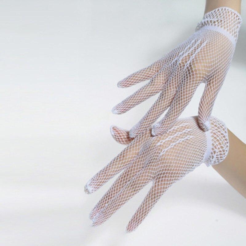 Lady Elastic Mesh Cloth Nylon Party Formal Etiquette Glove Women Nightclub Soft Sexy Short Lace Princess Erotic Dance Gloves L52