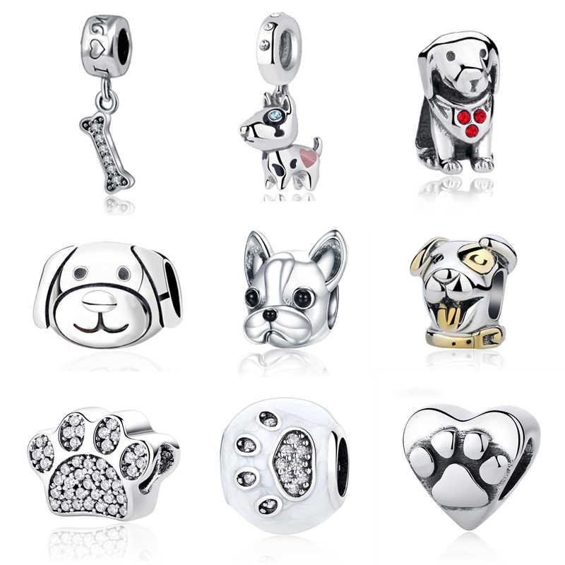 2941b2272 925 Sterling Silver Pet Dog Bone Lucky Dog Paw CZ Crystal Pendant Bead Charm  Fit Pandora