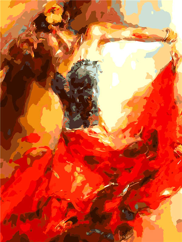 Best Pictures DIY Digital Oil Painting Paint By Numbers Christmas Birthday Unique Gift Dancing woman  Q797