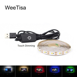 Fita USB LED Strip Backlight 5V 2835 5050 RGB Touch Dimmable Tape Ribbon Light Desk Decor Lamp for TV Background Bias Lighting