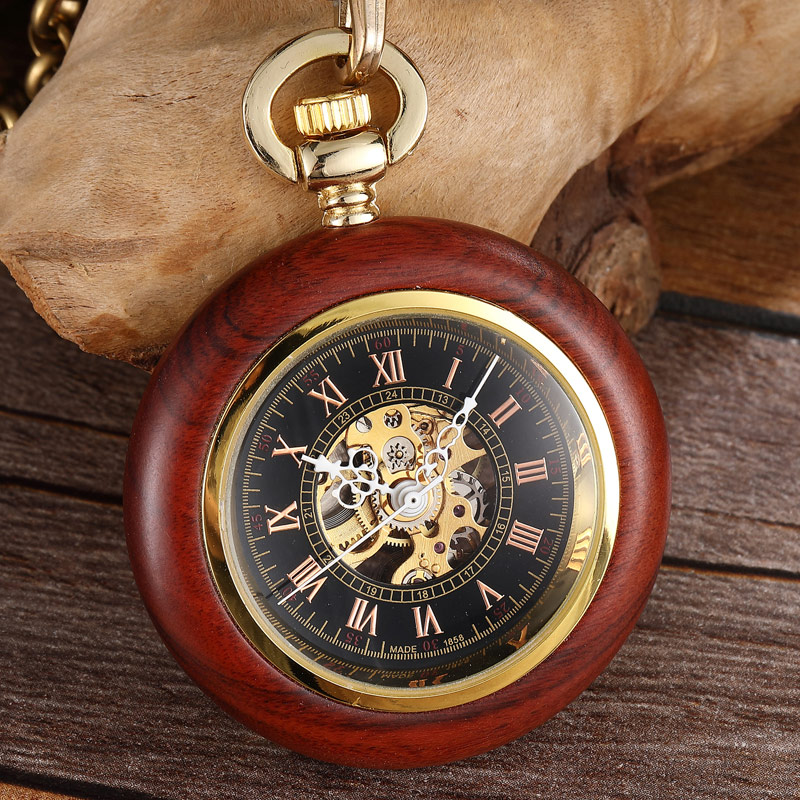 Unique Wood Case Mechanical Pocket Watch Hand Winding Steampunk Skeleton Fob Watches Chain Romans Necklace Pendant For Men Women