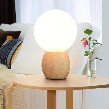 moderne lampara holz tischlampe schlafzimmer nachttischlampen beleuchtung dekorative lichter kinder runden tisch lampen fr wohnzimmer 220 - Nachttischlampen