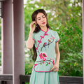 Tradicional chinesa tang terno clothing 2017 m-4xl mandarim collar floral handmade sapo verde rosa branca blusa trajes cosplay