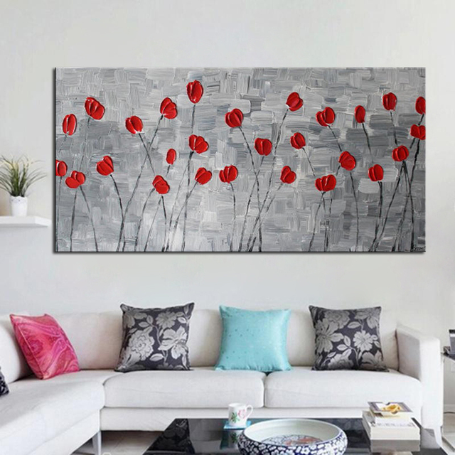 Handmade Heavy Textured Modern Abstract Decoration Picture Red Flower Oil Paintings For Bedroom Wall Decor Canvas
