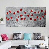 Hecho a mano Pesada Textura Abstracta Moderna Pinturas Al Óleo para el Dormitorio Decoración Imagen Flor Roja Decoración de La Pared Arte de la Lona Sin Marco