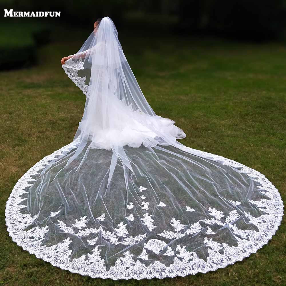 Luxury Sparkling Sequins Lace Edge 4 Meters Long Wedding Veil Cover Face Bridal Veil With Comb Blusher