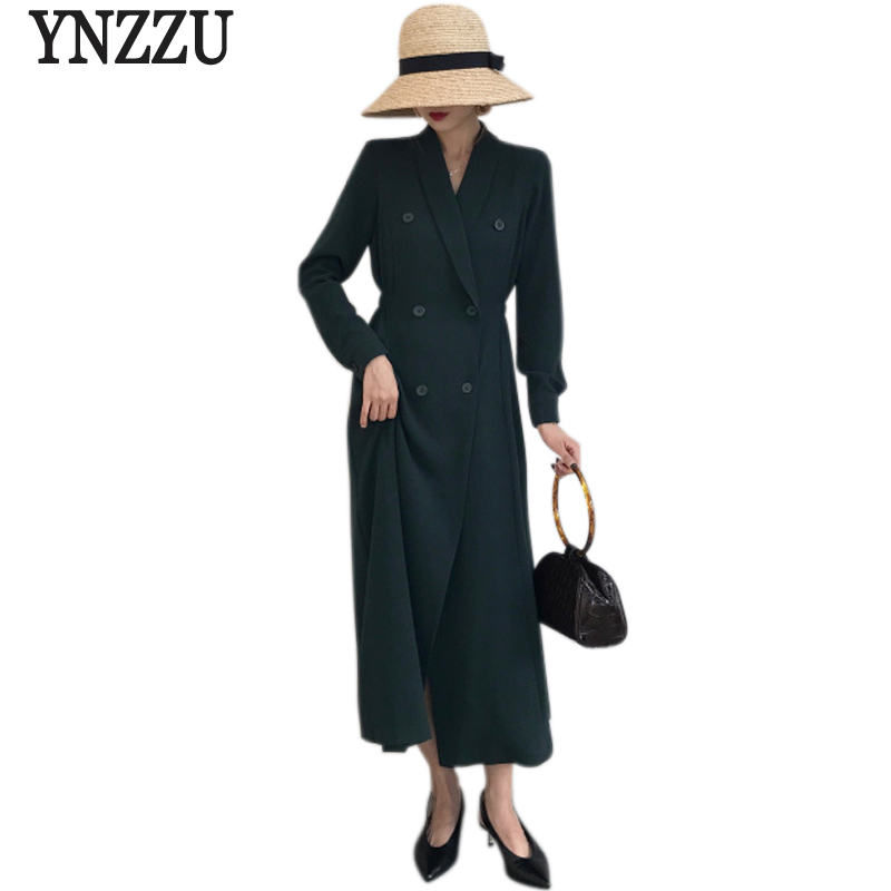 Korean Style 2018 Spring Women Blazers Solid Elegant Extra Long Double Breasted Slim Women Blazer And Jackets Femme AO530