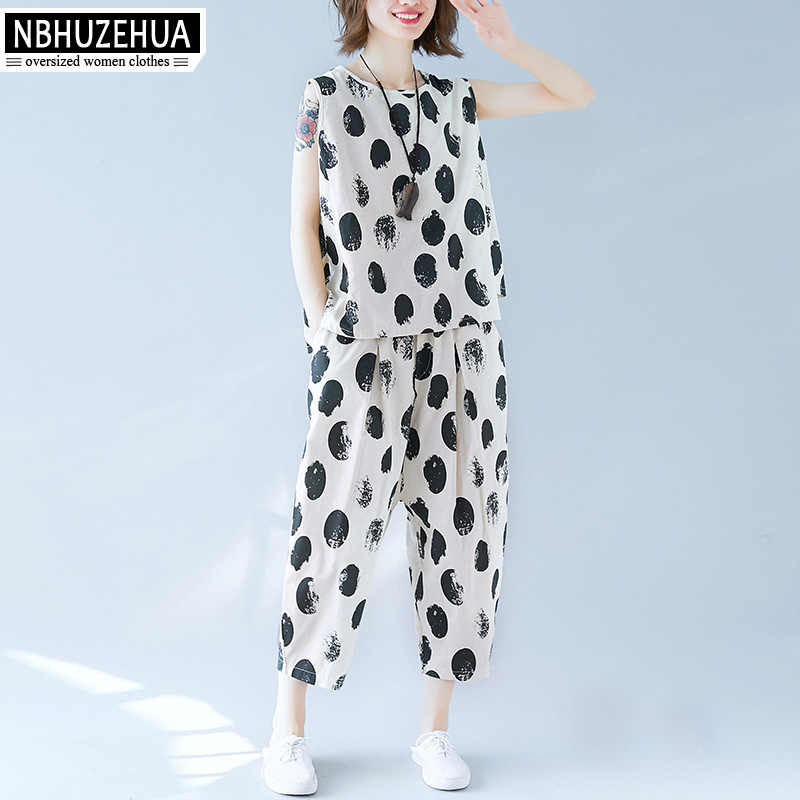 NBHUZEHUA Summer Two Piece Set Women Vintage Sleeveless Polka Dot Top and Harlan Pants Women Outfits Sets Plus Size 5XL 19-D243