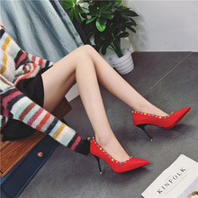 Free shipping spring women's rivet bead decoration pointed toe high heel shoes sexy shallow mouth wedding single shoes