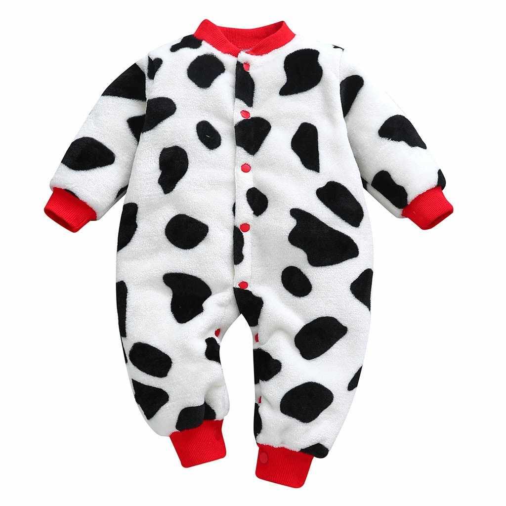 Leopar baskı bebek tulum kış sıcak polar giyim seti erkek karikatür bebek kız giysileri yenidoğan tulum bebek tulum